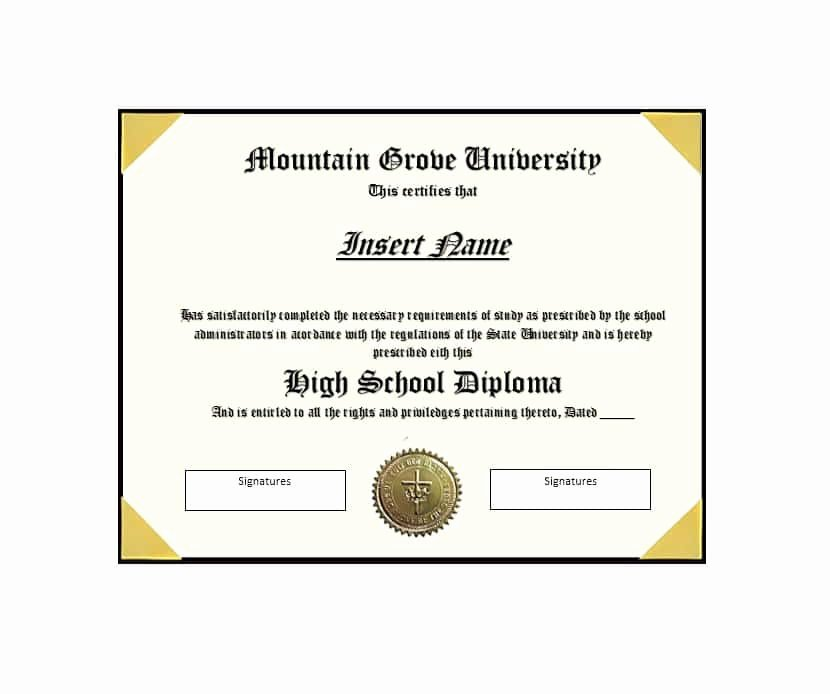 High School Diploma Template Luxury 30 Real & Fake Diploma Templates High School College