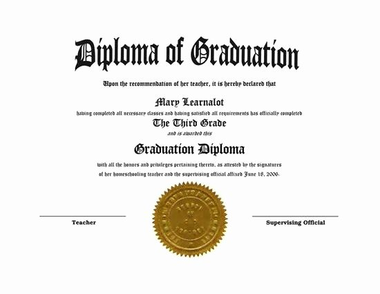 High School Diploma Template Luxury Homeschooling Diplomas Quick Easy Template for Home