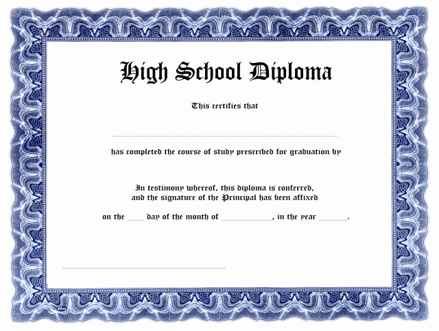 High School Diploma Template New Blank High School Diploma Template Free Printables