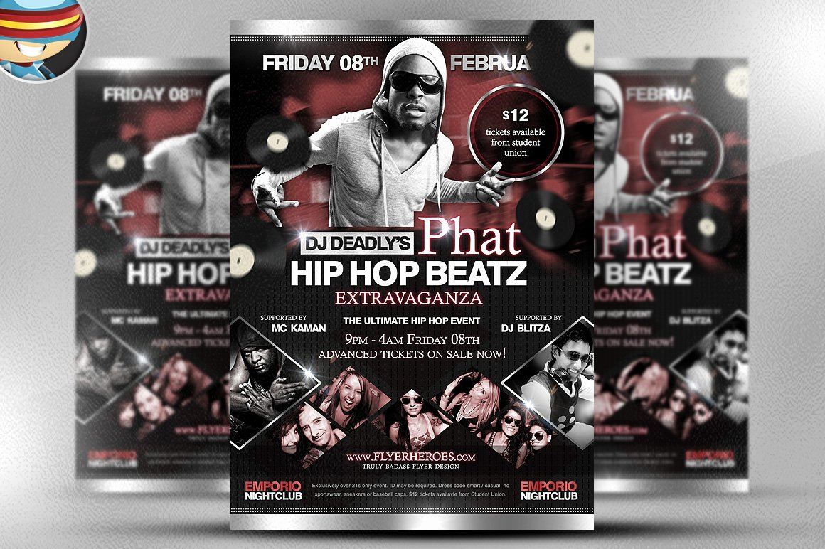 Hip Hop Flyer Template Elegant Phat Beatz Hip Hop Flyer Template Flyer Templates