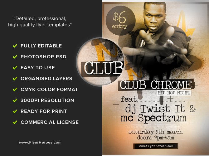 Hip Hop Flyer Template Fresh Clubchrome Free Hip Hop Flyer Template Flyerheroes