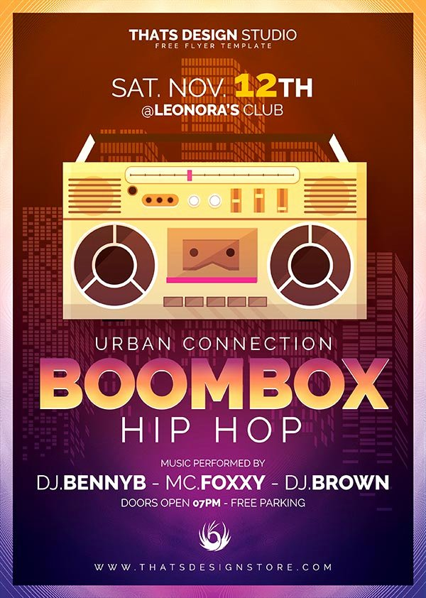 Hip Hop Flyer Template Luxury Boombox Hip Hop Free Flyer