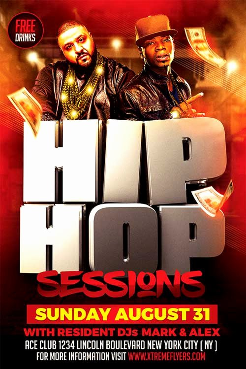 Hip Hop Flyer Template New Hip Hop Sessions Flyer Template Xtremeflyers