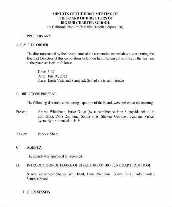 Hoa Meeting Minutes Template Awesome 17 Board Meeting Minutes Examples