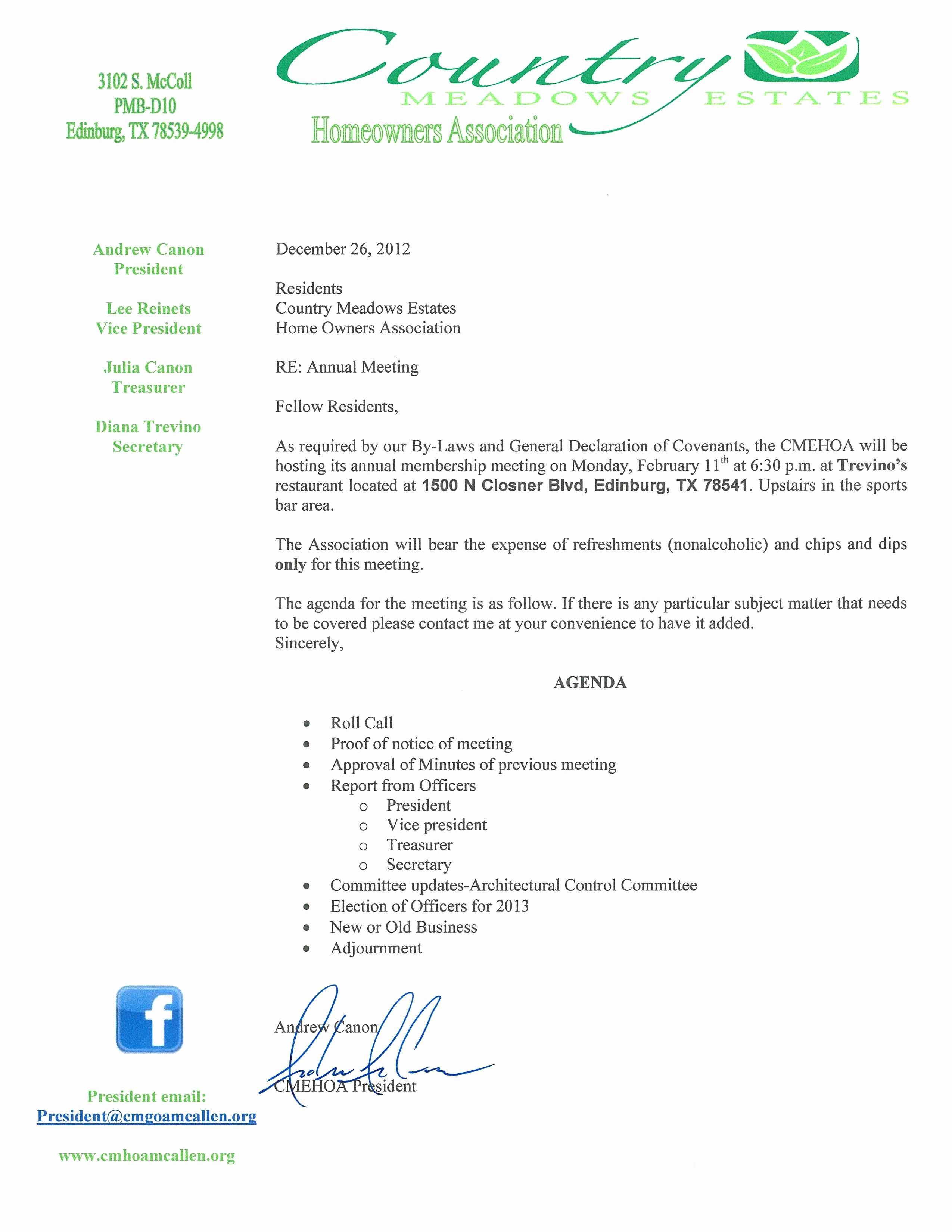 Hoa Meeting Minutes Template Fresh Country Meadows Estates