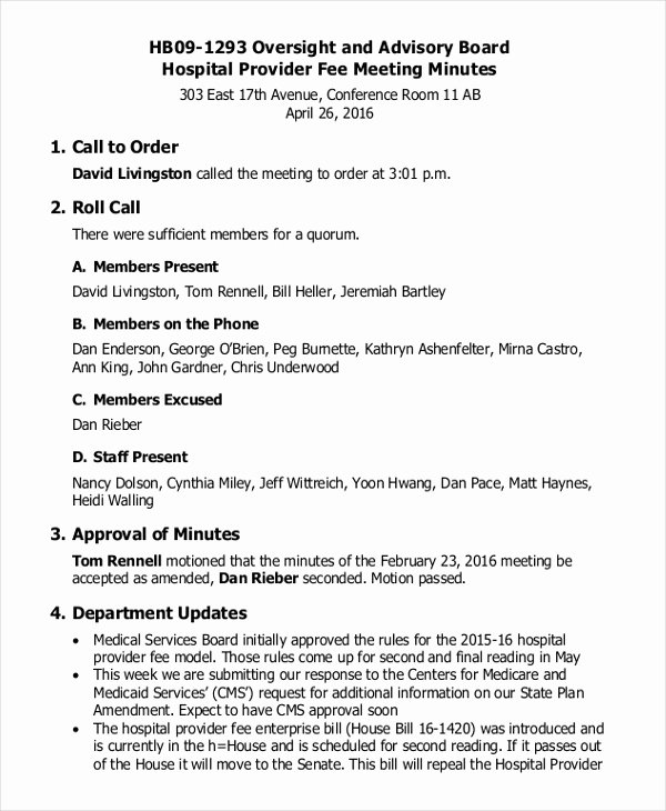 Hoa Meeting Minutes Template Luxury 17 Board Meeting Minutes Examples