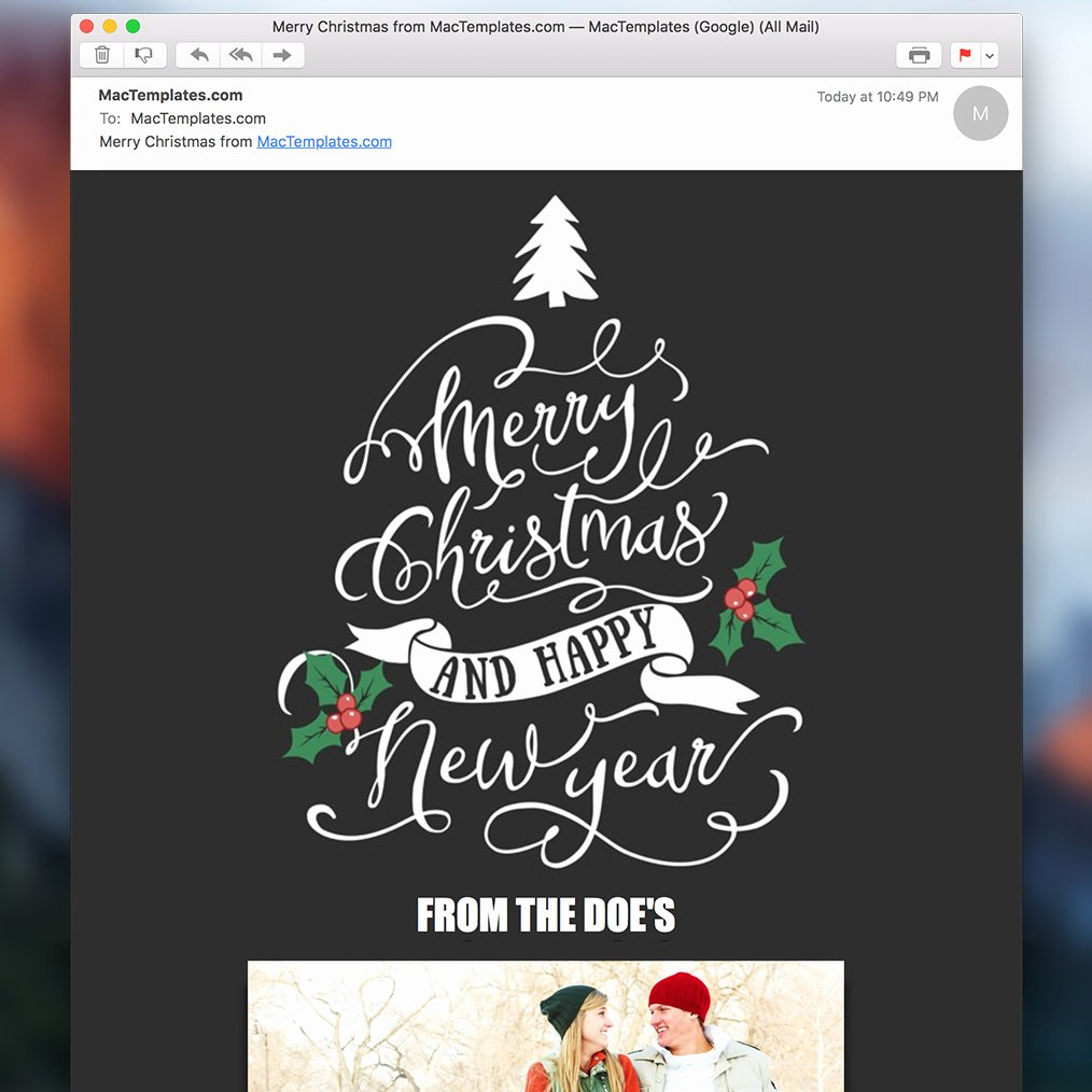 Holiday E Mail Template Awesome Christmas Email Card Mail Stationary Mactemplates