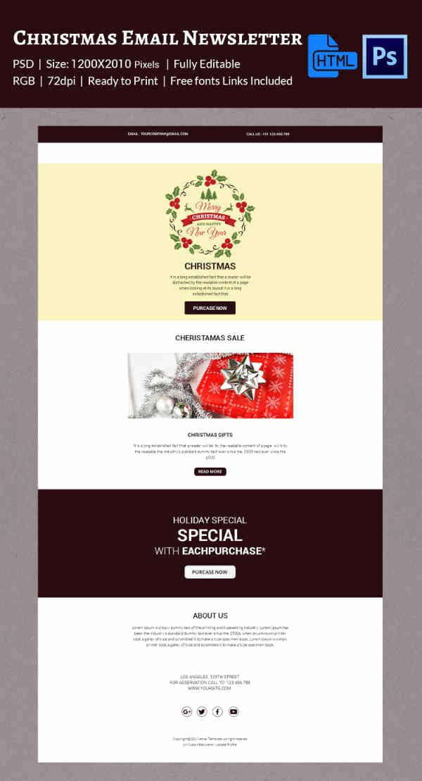 Holiday E Mail Template Best Of 38 Christmas Email Newsletter Templates Free Psd Eps