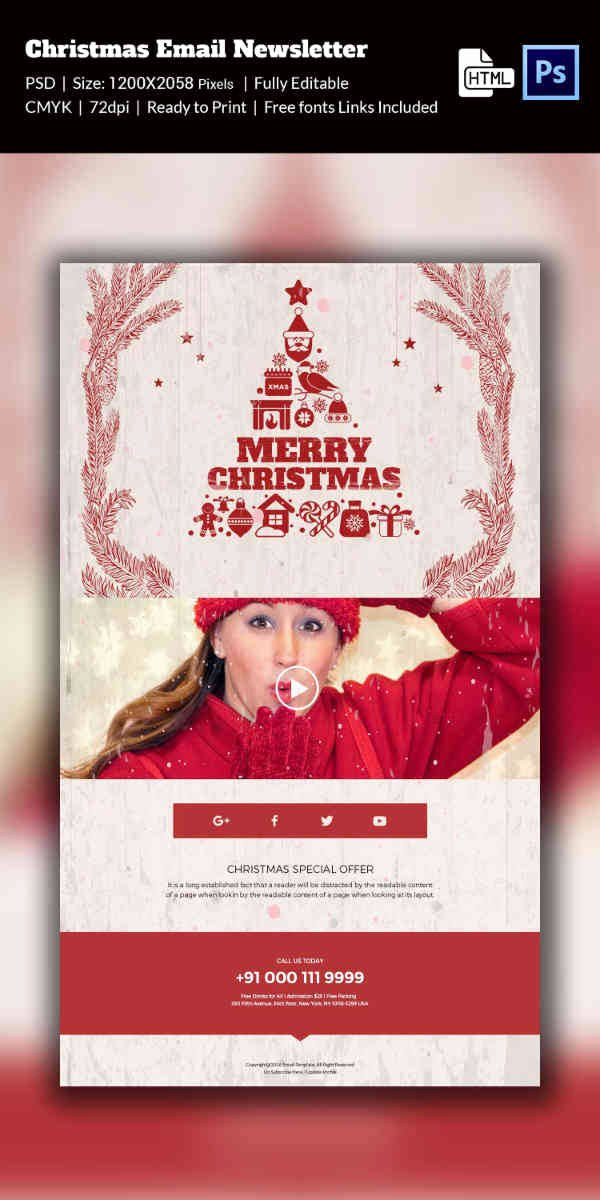 Holiday E Mail Template Inspirational 38 Christmas Email Newsletter Templates Free Psd Eps