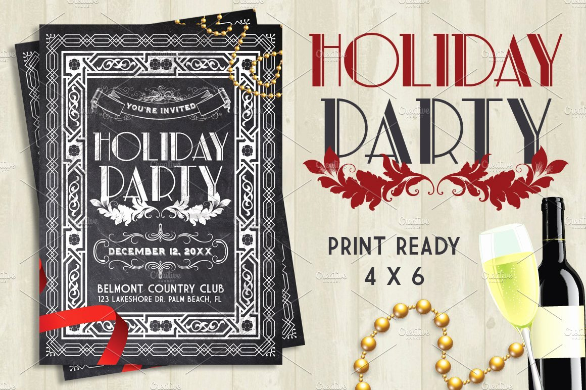 Holiday Party Flyer Template Luxury Holiday Party Chalk Flyer Flyer Templates Creative Market