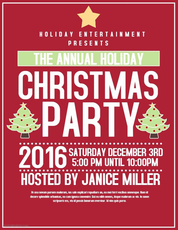 Holiday Party Flyer Template Luxury Red Christmas Party Flyer Template
