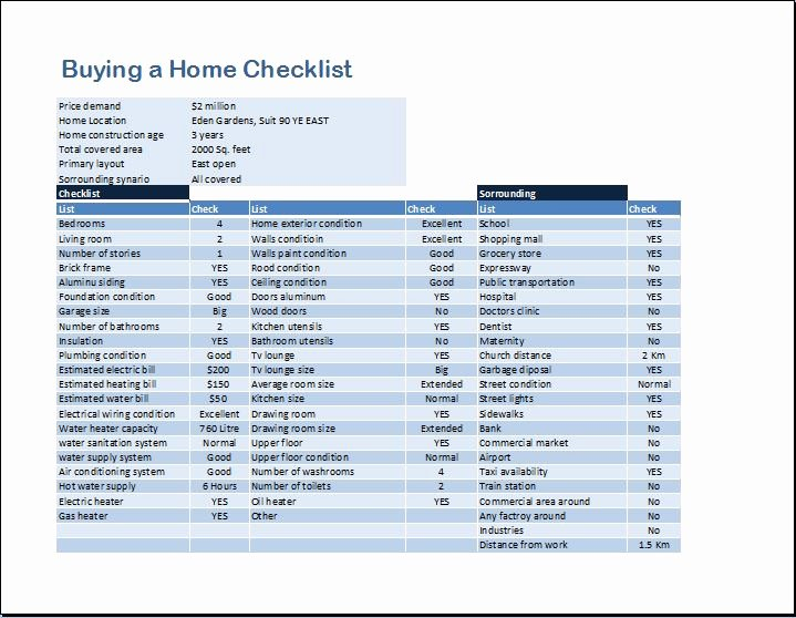 Home Buyer Checklist Template Awesome Buying A Home Checklist Template for Ms Word