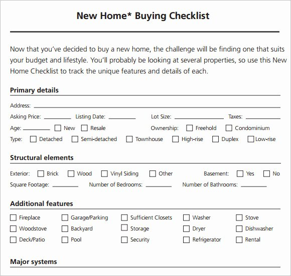 Home Buyer Checklist Template Best Of 8 New Apartment Checklist Samples