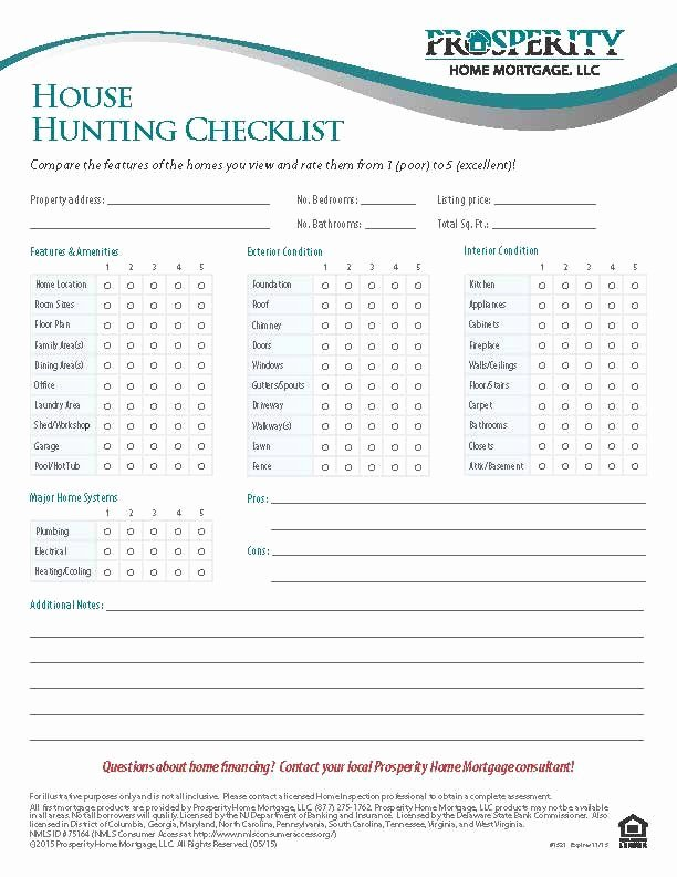 Home Buyer Checklist Template Fresh House Hunting Checklist Prosperity Home Mortgage Llc