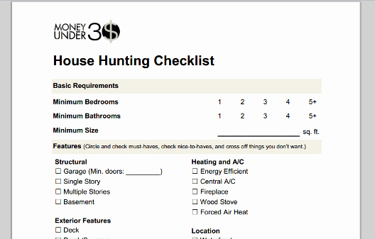 Home Buyer Checklist Template New Home Buying Checklist