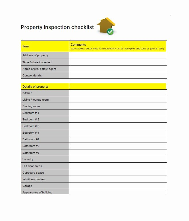 Home Buyer Checklist Template Unique 20 Printable Home Inspection Checklists Word Pdf