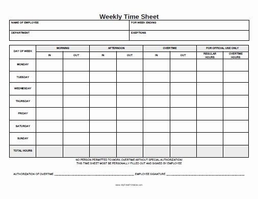 Home Care Timesheet Template Beautiful Weekly Time Sheet form Free Printable Myfreeprintable