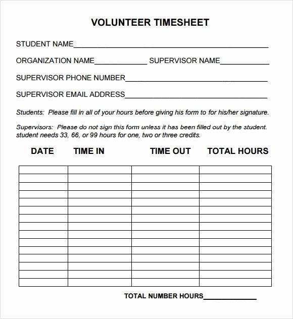 Home Care Timesheet Template Best Of Volunteer Timesheet Template