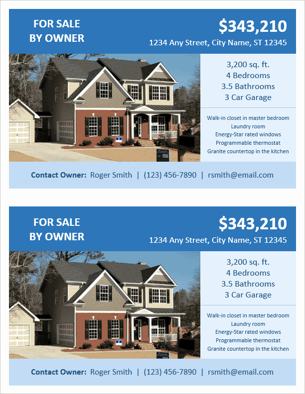 Home for Sale Template Beautiful Fsbo Flyer Template for Word