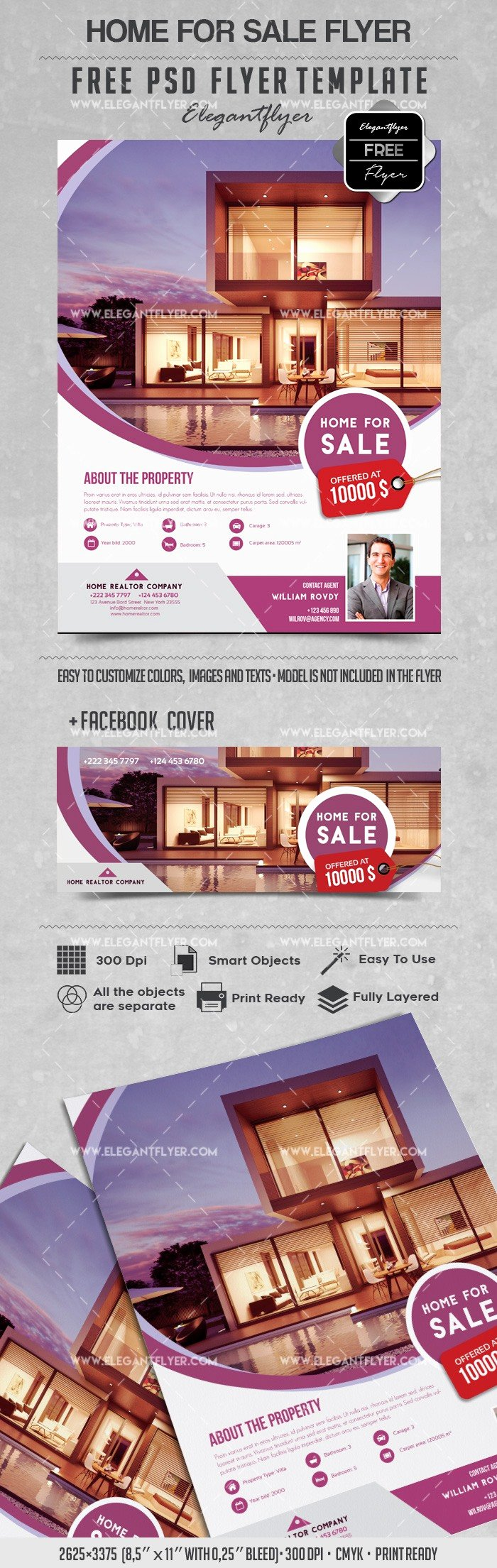 Home for Sale Template Beautiful Home for Sale – Flyer Psd Template – by Elegantflyer