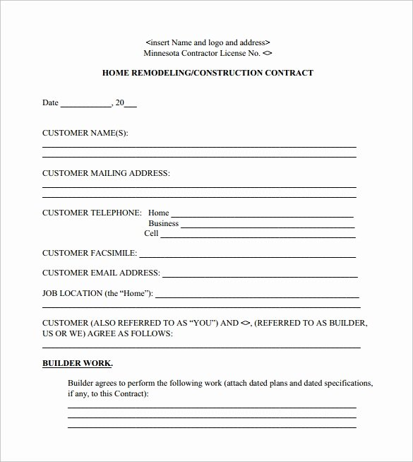 Home Improvement Contract Template Awesome 12 Remodeling Contract Templates Pages Docs Word