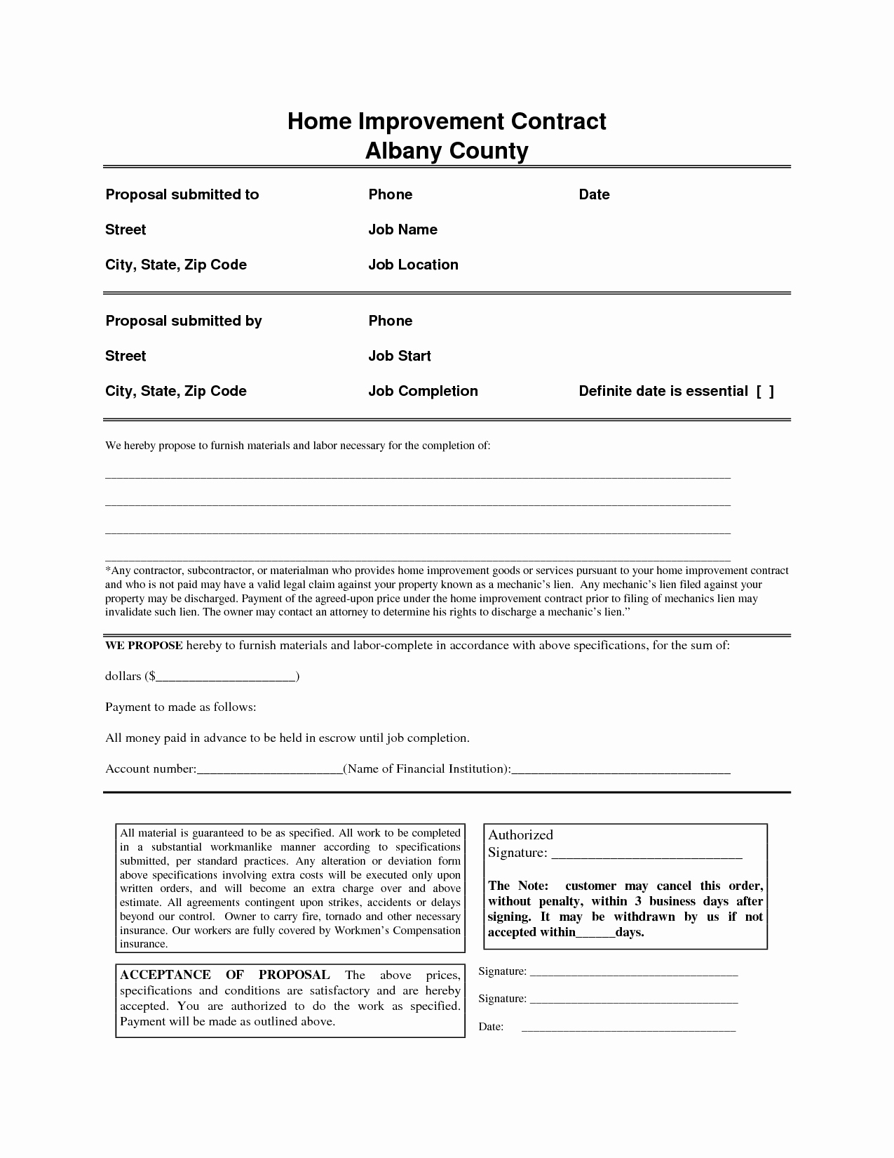 Home Improvement Contract Template Awesome Home Improvement Contract Free Printable Documents