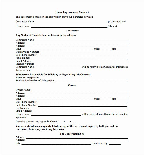 Home Improvement Contract Template Beautiful 7 Renovation Contract Templates Doc Pdf