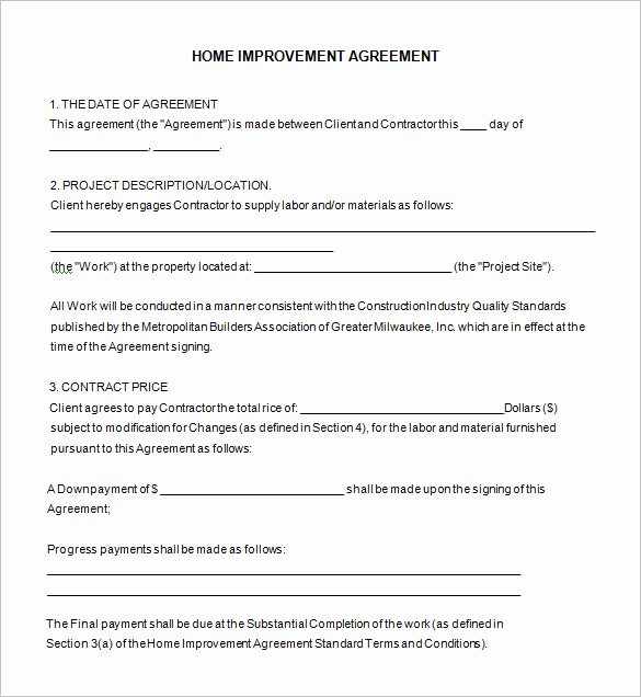 Home Improvement Contract Template Best Of 10 Home Remodeling Contract Templates Word Docs Pages