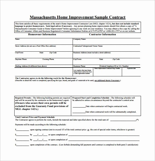 Home Improvement Contract Template Best Of 11 Home Remodeling Contract Templates to Download for Free