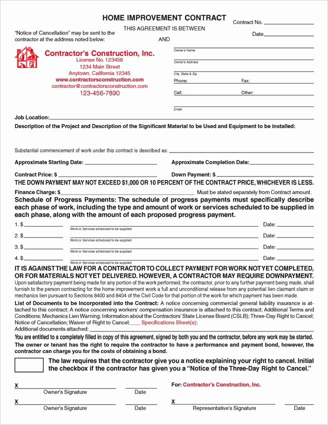 Home Improvement Contract Template Lovely Custom Electronic California Home Improvement Contracts