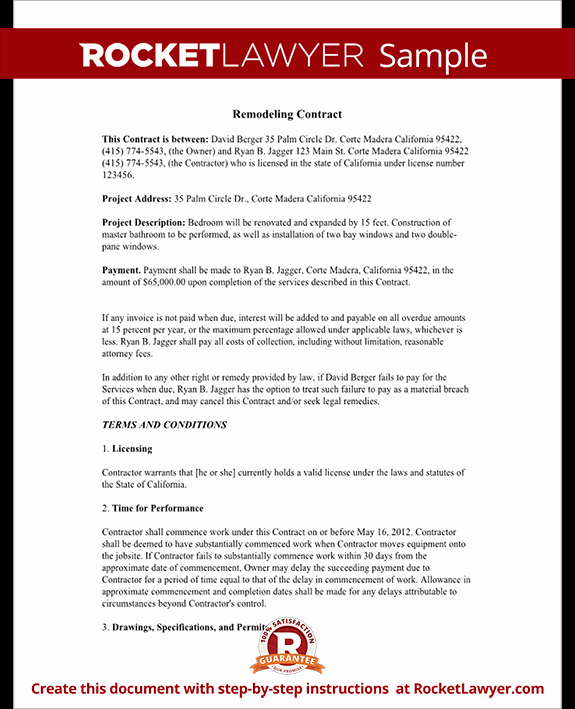 Home Improvement Contract Template Lovely Home Improvement Contract Agreement Template with Sample