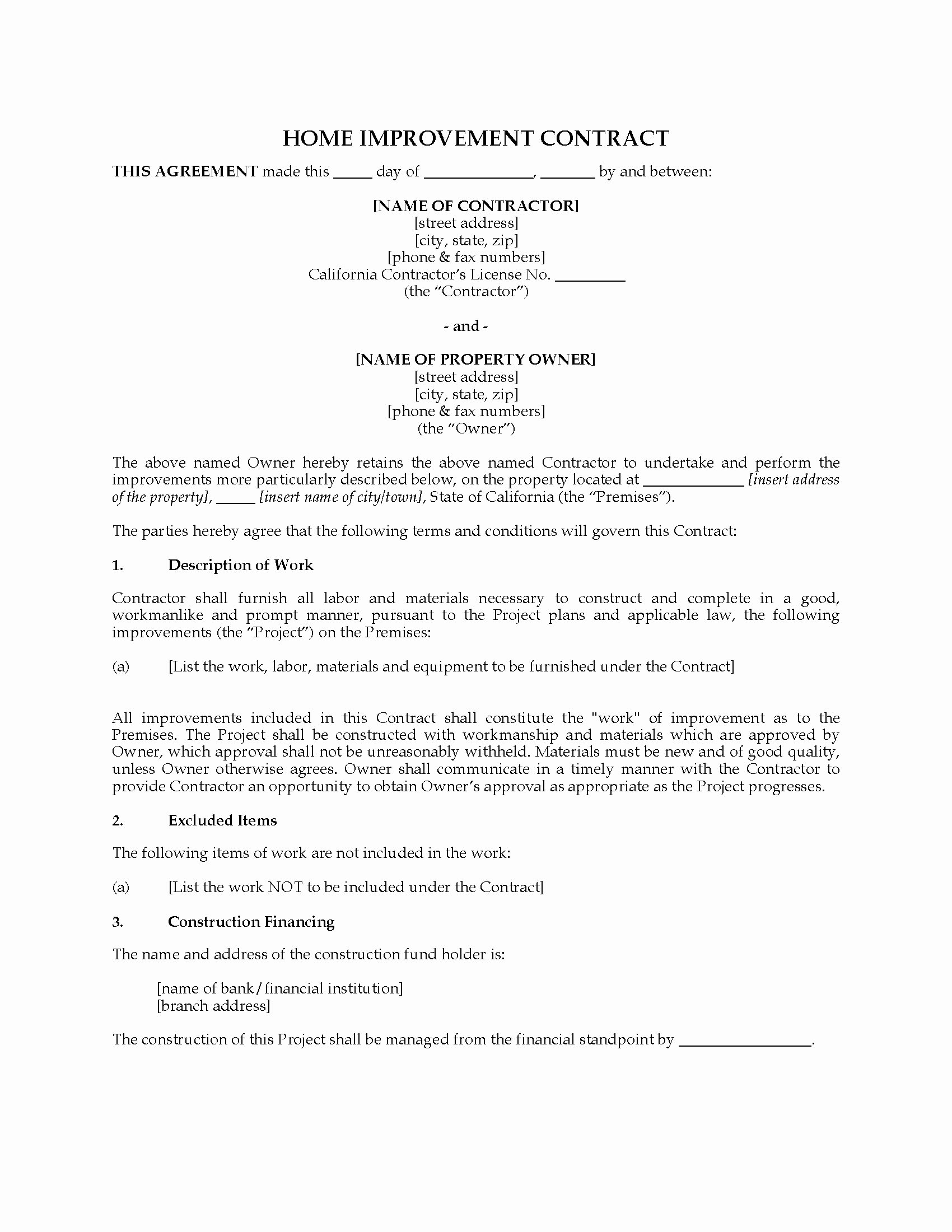 Home Improvement Contract Template New California Home Improvement Contract