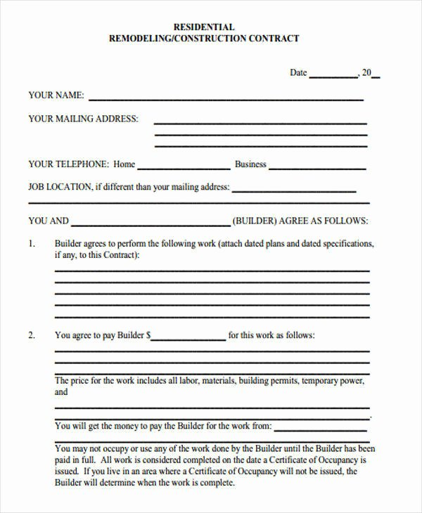 Home Improvement Contract Template Unique 7 Construction Contract Templates – Word Google Docs