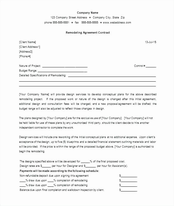 Home Remodeling Contract Template Awesome wholesale Agreement Contract Template Best Distribution