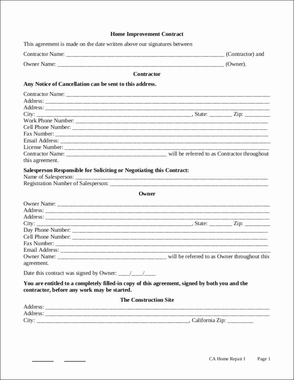 Home Remodeling Contract Template Best Of 10 Renovation Contract Samples & Templates