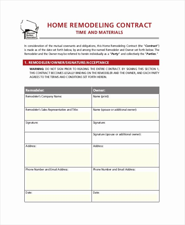 Home Remodeling Contract Template Elegant 28 Contract Templates Free Sample Example format