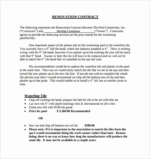 Home Remodeling Contract Template Inspirational 9 Remodeling Contract Templates to Download for Free
