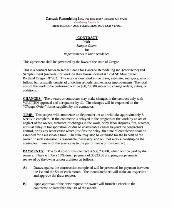 Home Remodeling Contract Template Unique 12 Remodeling Contract Templates Pages Docs Word