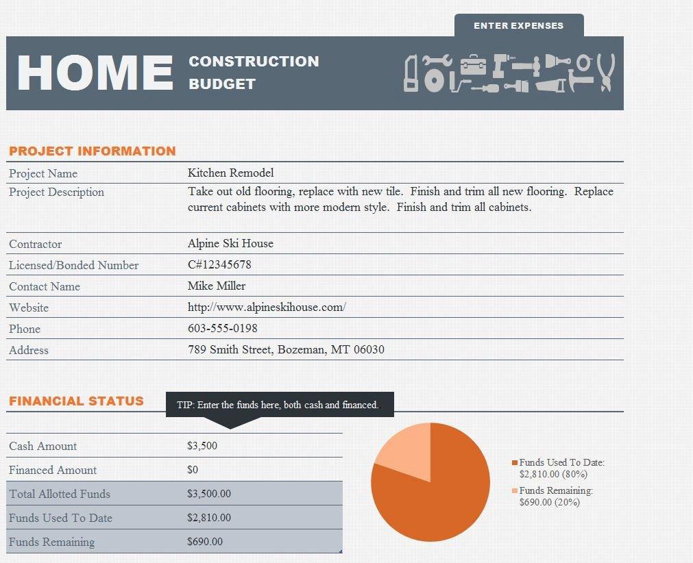 Home Renovation Budget Template Fresh Home Renovation Bud Template Excel
