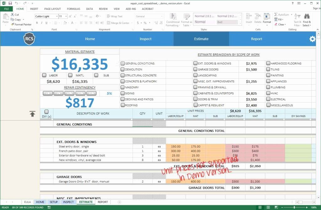Home Renovation Budget Template Luxury Home Renovation Bud Spreadsheet Template Renovation