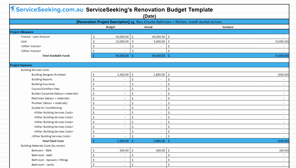 Home Renovation Budget Template New Renovation Bud Template