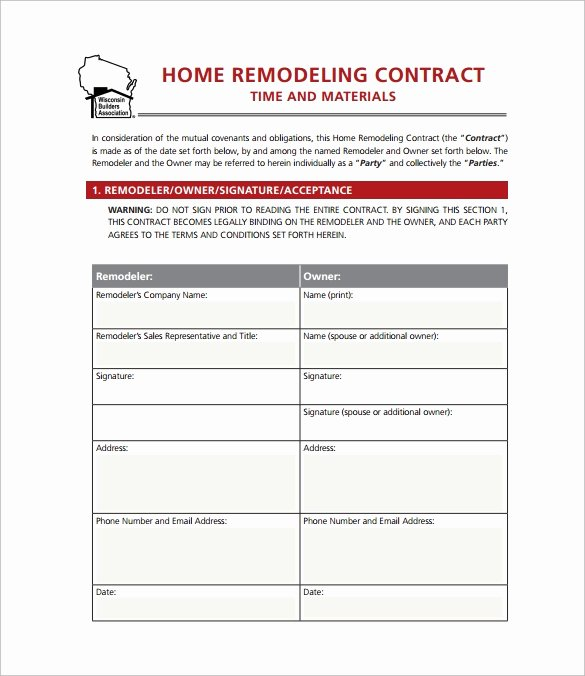 Home Repair Contract Template Fresh 11 Home Remodeling Contract Templates to Download for Free