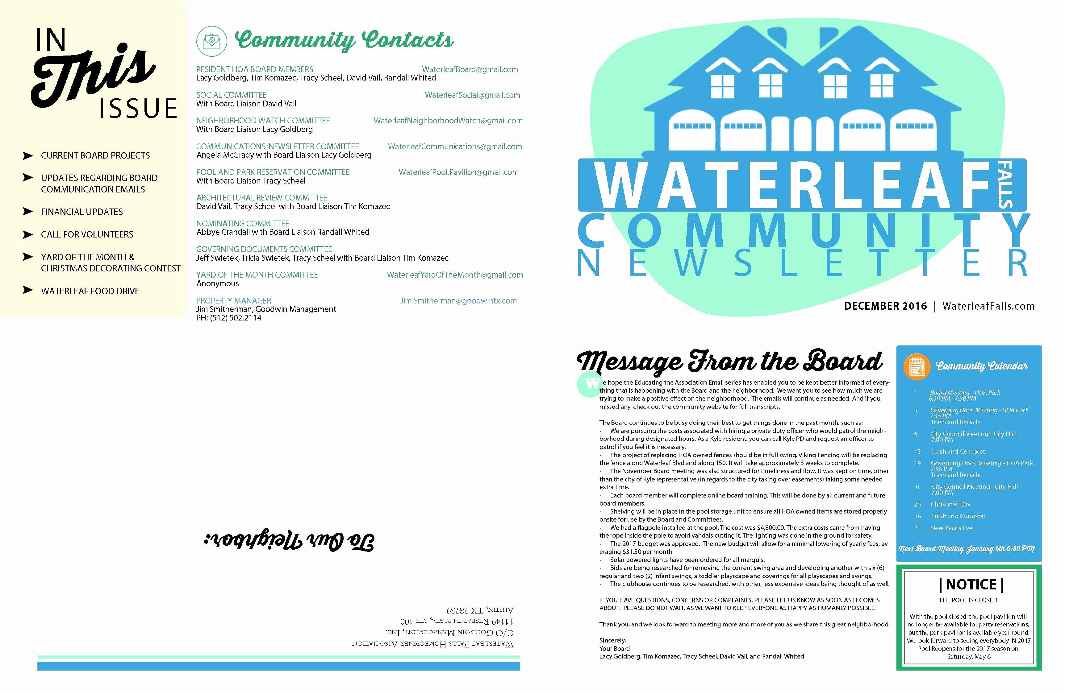 Homeowners association Newsletter Template Best Of Homeowners association Newsletter Template Epp Acpfo