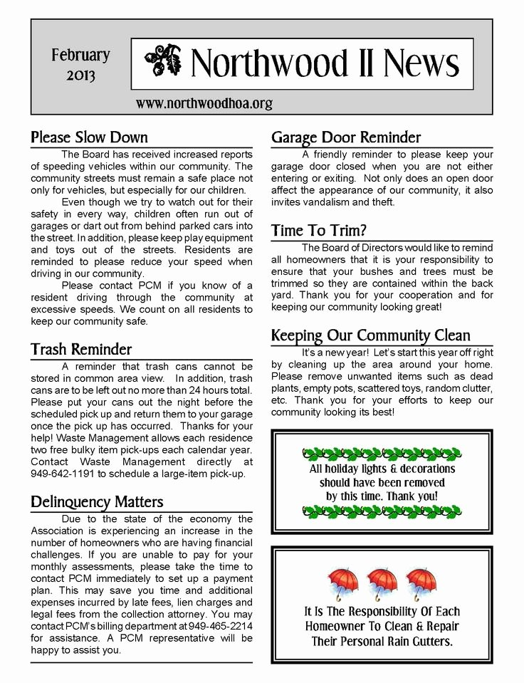 Homeowners association Newsletter Template New 11 Best Sample Newsletters Images On Pinterest