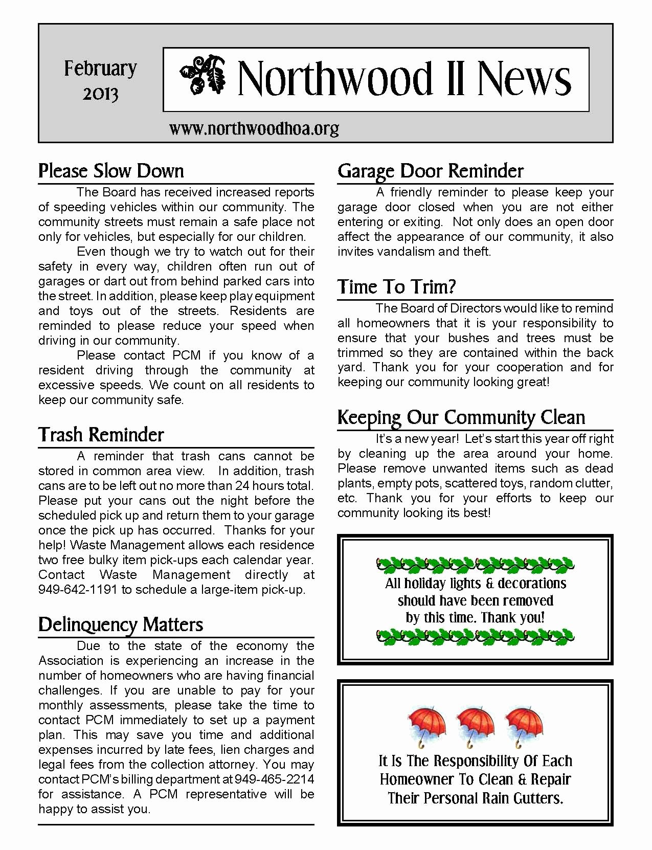Homeowners association Newsletter Template New February 2013 – northwood Ii Nwii Hoa Munity