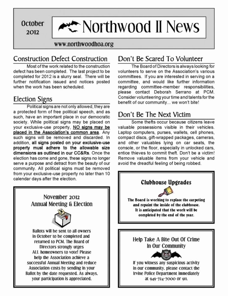 Homeowners association Newsletter Template New Hoa Newsletter Ideas Studiojpilates