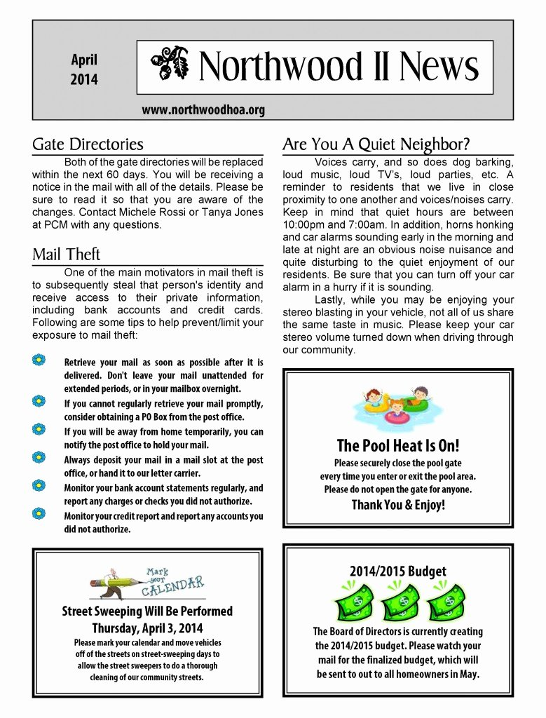 Homeowners association Newsletter Template Unique Hoa Newsletter Templates