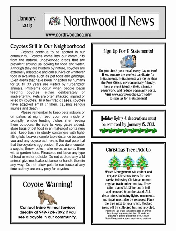 Homeowners association Newsletter Template Unique January 2013 – northwood Ii Nwii Hoa Munity