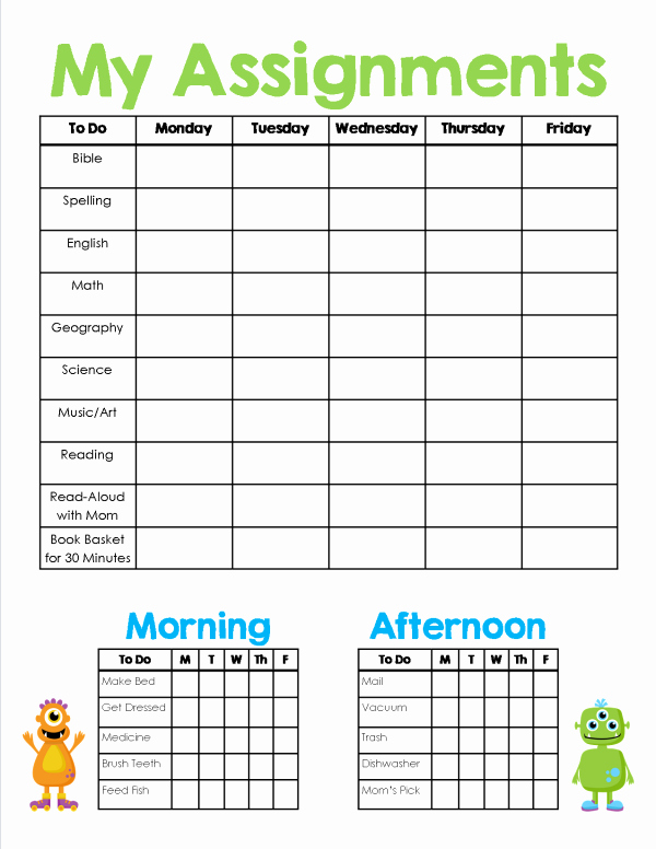 Homeschool Daily Schedule Template Awesome Homeschool assignment & Chores Sheet Free Printable