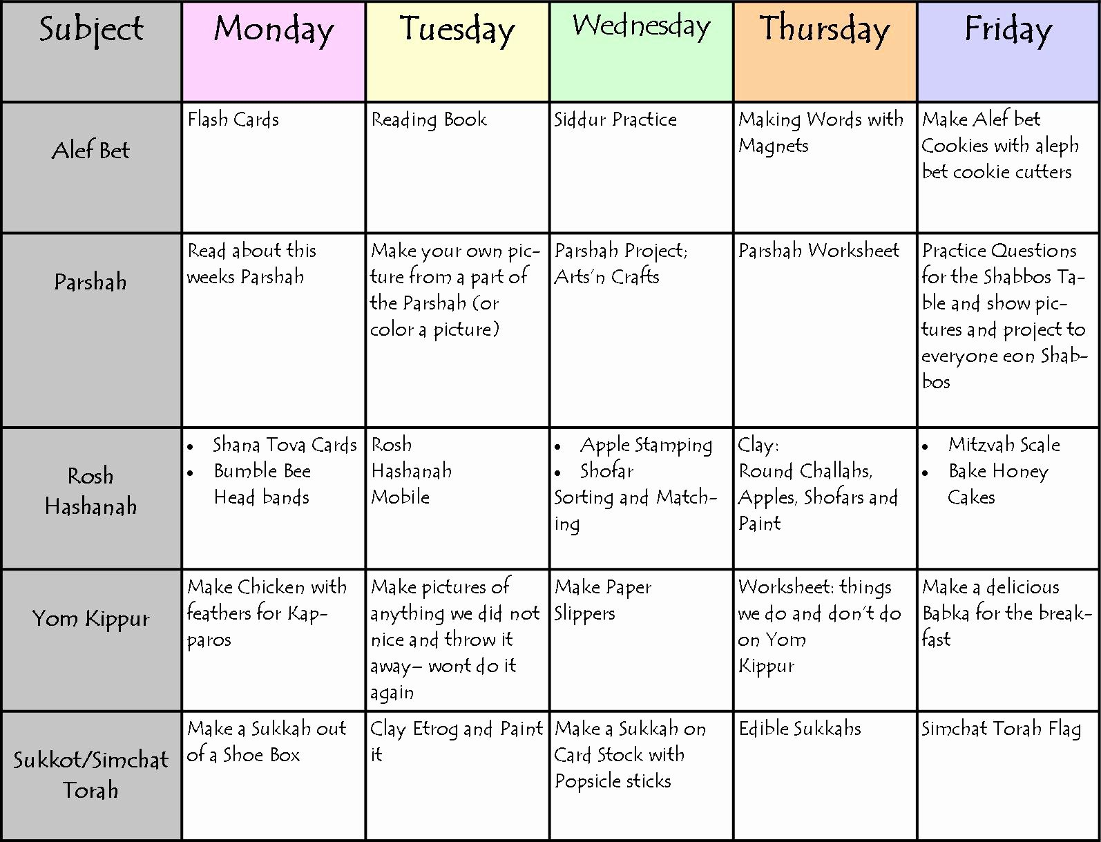 Homeschool Daily Schedule Template Elegant A Jewish Homeschool Blog Here is Our Jewish Stu S